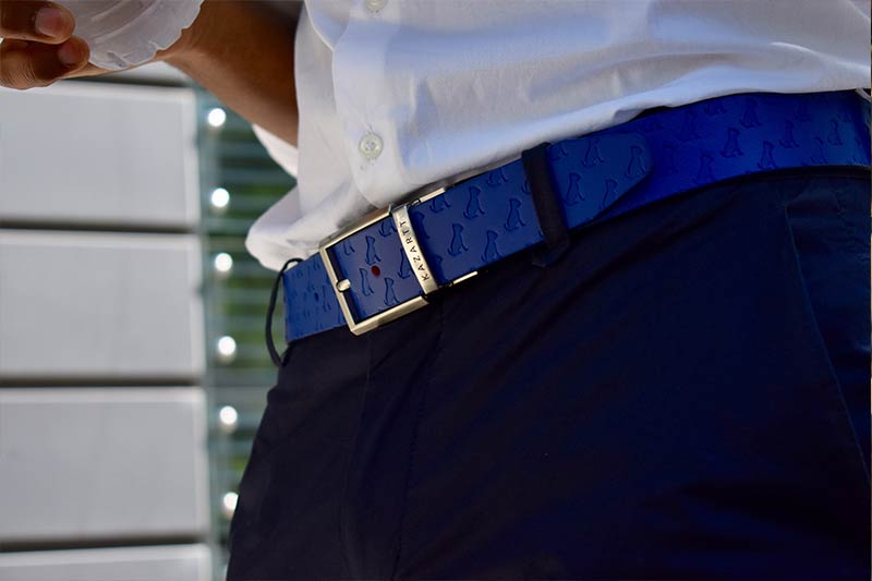 Blue leather belt KAZARTT